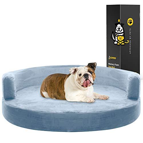 KOPEKS Deluxe Orthopedic Memory Foam Round Sofa Lounge Dog Bed - Large - Grey