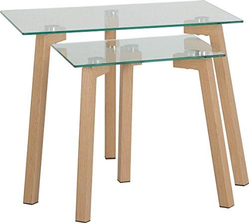 Seconique Morton Nest of Table, Clear Glass/Oak, One Size