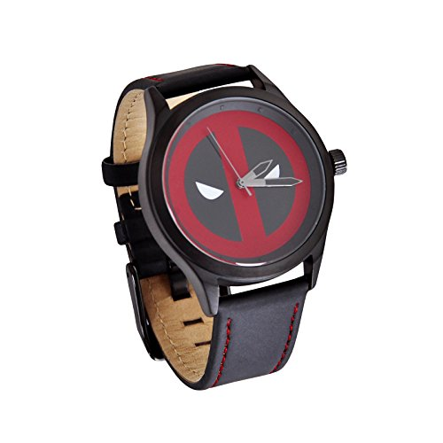 Deadpool Armband Uhr Logo von Elbenwald Marvel Echtleder schwarz rot