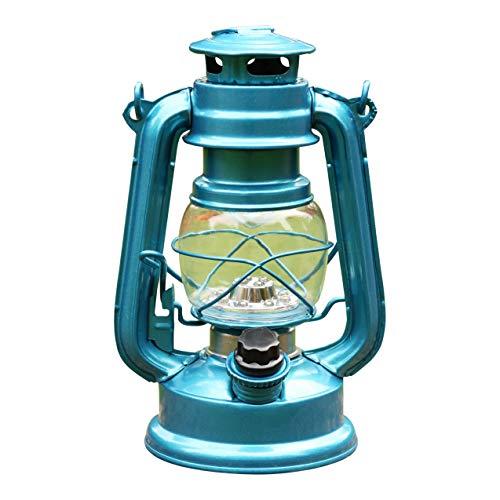 LED Sturmlampe mit Batterie - Sturmlaterne Elektrisch LED Öllampe Windlaterne Windlicht für Garten Blau von PK Green