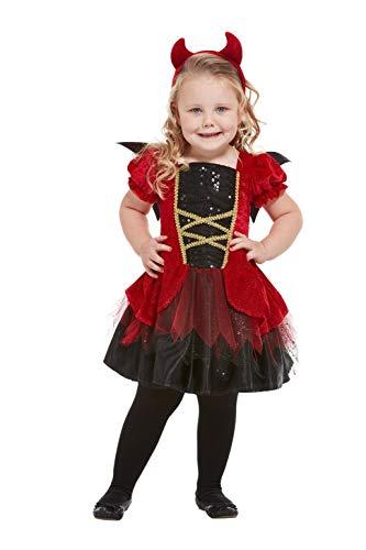 Smiffys 50794T1 - Disfraz de diablo para niña, color rojo, edad de 1 a 2 años