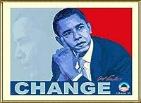 ポスター アームストロング Barack Obama change 額装品 アルミ製ハイグレードフレーム(ゴールド)
