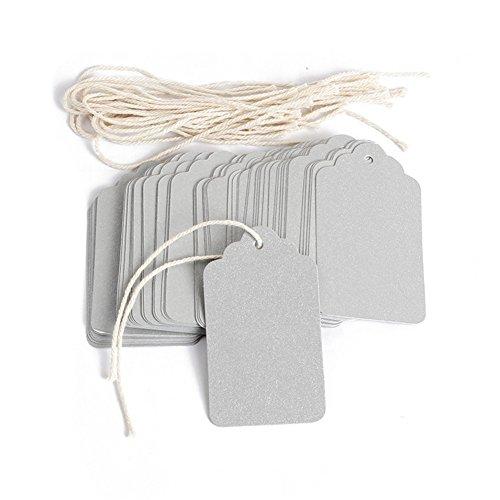 Etiquetas de papel de 70 x 40 mm, etiquetas rectangulares para equipaje de mano, regalos, papel de boda, precios de tienda, paquete de 100 unidades(Plata)