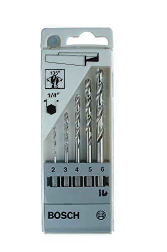 Bosch Professional 5tlg. Metallbohrer-Set HSS-G geschliffen mit 1/4 Zoll -Sechskantschaft