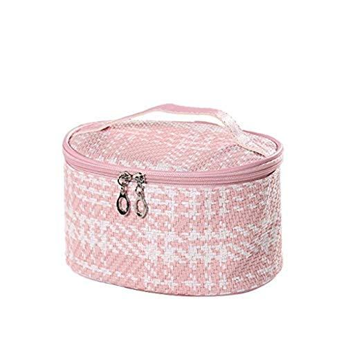 XYZMDJ Sac cosmétique, Mode tissé Sac cosmétiques de Grande capacité Multi-Fonction cosmétique Sac (Color : Pink)