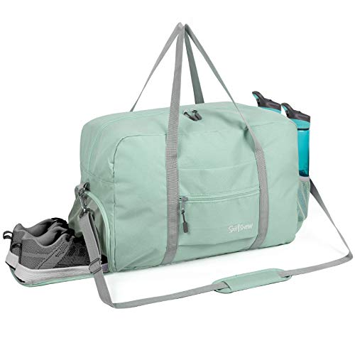 Sports Gym Bag with Wet Pocket & Shoes Compartment, Travel Duffel Bag for Men and Women Lightweight 35L, Mint Green