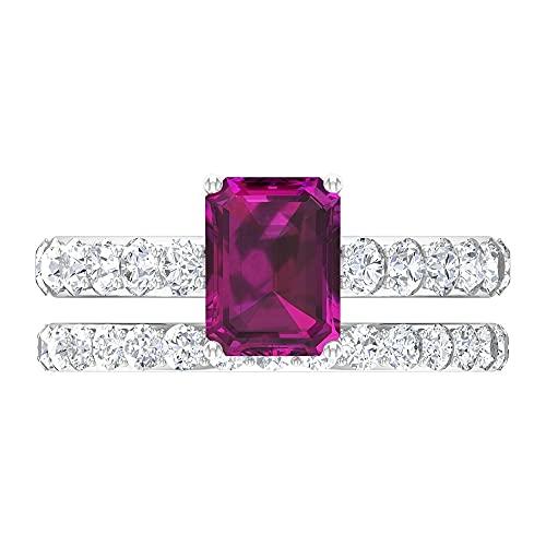 Anillo de compromiso con solitario, anillo de rodolitas con forma de octágono D-VSSI 6X8 mm, conjunto de anillos de boda, 14K Oro blanco, Rodolita, Size:EU 67