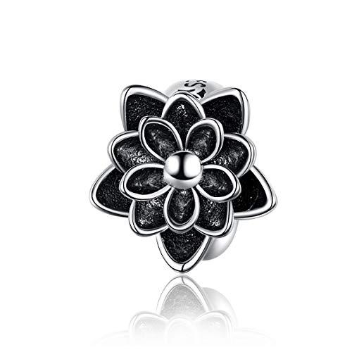 Lily Jewelry - Perlina in argento Sterling 925 con fiore di loto, compatibile con braccialetti europei