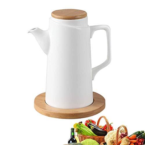 Dispensador de olla de aceite de cerámica blanca pura moderna