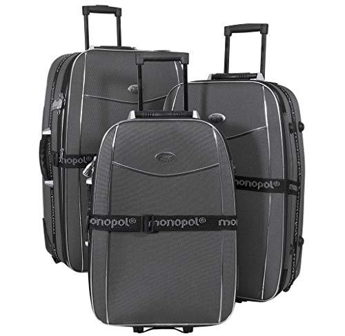 Kofferset 3tlg. Bali schwarz inkl. Koffergurt