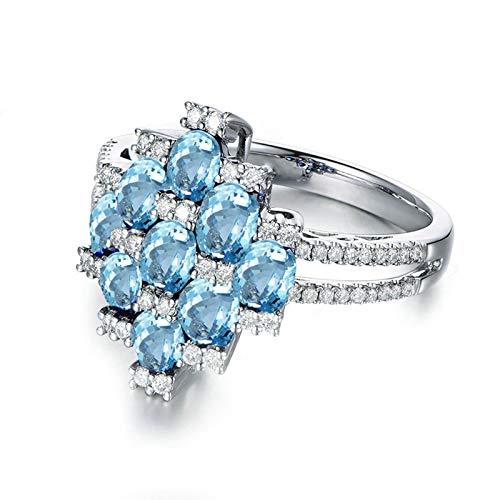 Ovaal geslepen 3X5MM blauwe Topaas Ring Band S925 Sterling Zilver Bruiloft Bands en Ringen