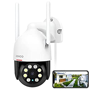 Security Camera Outdoor/Home, DEKCO WiFi Outdoor Security Cameras Pan-Tilt 360° View, 1080P Dome Surveillance Cameras with Motion Detection and Siren, 2-Way Audio,Full Color Night Vision, Waterproof