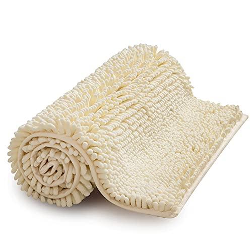 MIULEE Tappettto da Bagno in Ciniglia Antiscivolo con Idroscopicità Tappeto da Bagno Super Morbidi e Resistente Lavabile in Lavatrice Tappeto per Vasca Casa Moderna Camera da Letto 40X60 CM Bianco