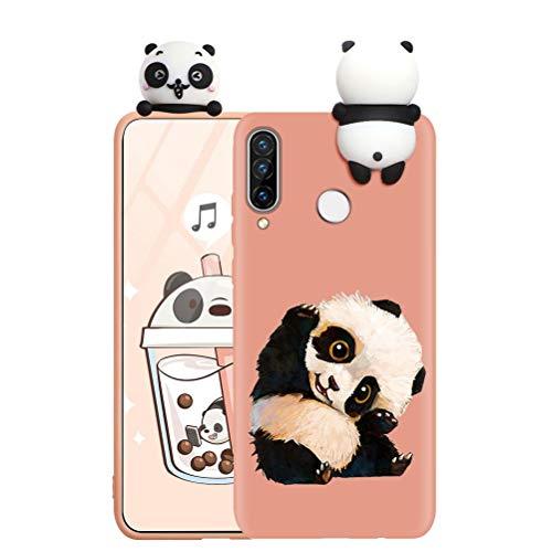 ZhuoFan Hülle für Huawei P Smart 2019, Silikon 3D Cartoon Süß Tiere Ultra Dünn P Smart 2019 Handyhülle Schutzhülle mit Muster Stoßfest TPU Kinder Mädchen Design, Orange Panda 2