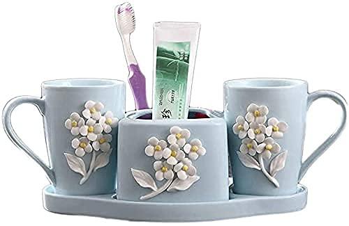 4 Pezzi Forniture da Bagno in Ceramica Emulsion SAP Sapper Set Dispenser Soap(Colore: Rosa) (Color : Blue)