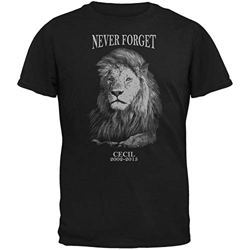 Cecil The Lion Never Forget Black Adult T Shirt 2x Large