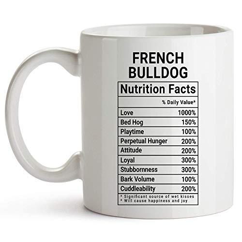 Kubek z buldogiem francuskim, biały, kubek do kawy z faktami żywieniowymi, buldog francuski prezenty dla kobiet 325 ml