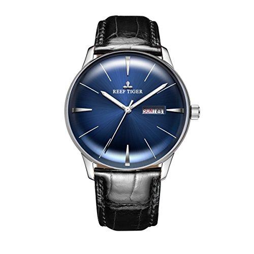 REEF TIGER Herren Uhr analog Automatik mit Leder Armband RGA8238 (RGA8238-YLB)