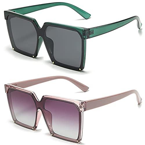 HFSKJ Pack de 2 Gafas de Sol, Gafas de Sol polarizadas Gafas con protección UV con Montura Retro Las Gafas de conducción Son adecuadas para Hombres y Mujeres,A