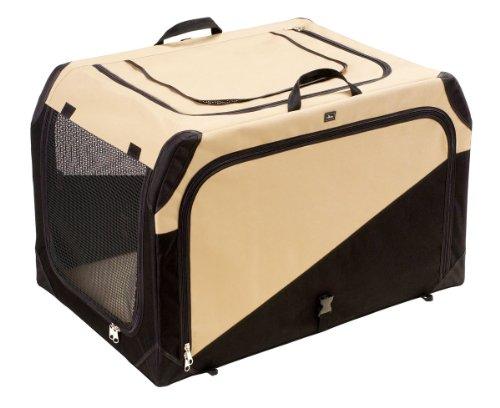 HUNTER Hundetransportbox, Autobox, strapazierfähig, zusammenklappbar, 76 x 51 x 48 cm, beige/schwarz