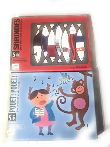 DJECO- Lot de 2 Jeux - POUET POUET Jeu de bruits et de mimes & Sardines Jeu d'observation et de mémoire- 5 à 99 Ans -