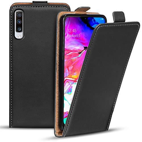 Conie BF52567 Basic Flip Kompatibel mit Samsung Galaxy A70, PU Leder Hülle Cover Klapphülle für Galaxy A70 Tasche Schwarz