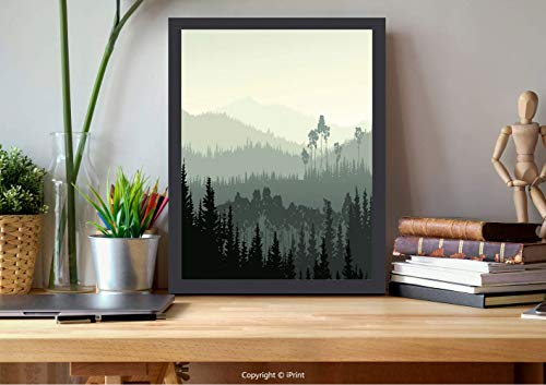 AmorFash №21472 Wooden Framed Wall Art,Apartment Decor,The Panorama of A Valley and A Mystic Forest of Pine Trees,Egg Shell and Sage Green, Best for Gifts
