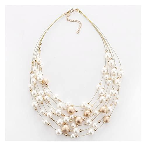 zlw-shop Collar de Mujer Joyería de Moda Color de Oro Cadenas de múltiples Capas MULTIVAS DE Perlas DE IMITACIÓN para Las Mujeres Partido Boda Novia Collar Collares Pendientes (Metal Color : A)