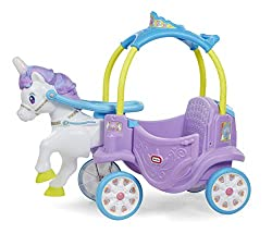 WITH SOUNDS, LIGHTS, & MORE - The Magical Unicorn Carriage is packed with cool, unique features like a rotating horn that lights up and makes realistic unicorn galloping noises as they ride! MAGICAL UNICORN CARRIAGE - With a rainbow mane, glittering ...