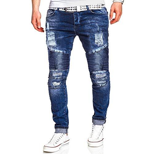 Reasoncool Herrenmode Jeans Kausale Chino Feldhose Tasche Reißverschluss Trousers Slim Fit Freizeithose Shredded Lang Hosen Bequem Atmungsaktiv Streetwear