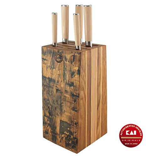 exklusiver, von handgefertigter bestückter Messerblock aus Alten Fassdauben | + | 5 Kai Shun Classic White Damastmesser Profimesser |Variante -B-