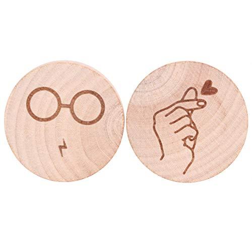 2 uds imán de madera abridor de botellas imán de nevera de madera imanes para niños decoración de nevera de oficina de cocina(Fingering Heart + Glasses)