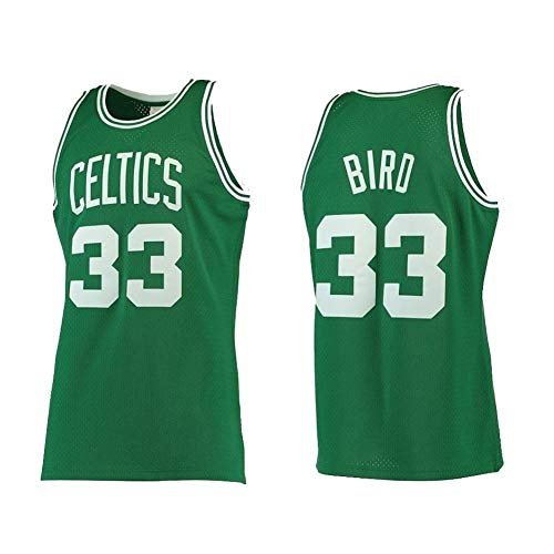 JCSW Maglia Basket Uomo NBA Basketball Maglia Larry Bird # 33, Traspirante Resistente all'Uso Ricamato Felpa T-Shirt + Shorts, XS-XXL, FHI65IHF (Color : Green, Size : XS)