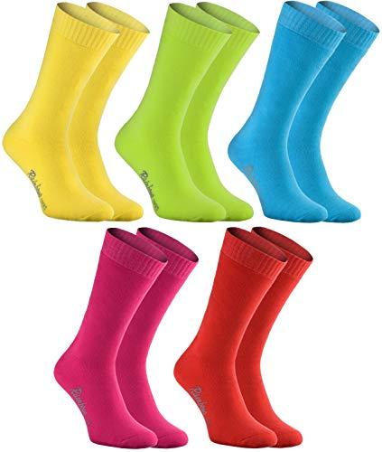 Rainbow Socks - Damen Herren Bunte Warme Frottensocken - 5 Paar - Mehrfarbig - Größen 39-41