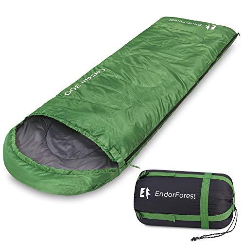 Endor Forest Sacco a Pelo - Singolo 3 Stagioni per Campeggio ed Escursioni – Sacco a Pelo per Adulti e Sacco a Pelo per Bambini – Leggero, Compatto, Impermeabile, Caldo, Lavabile e Resistente