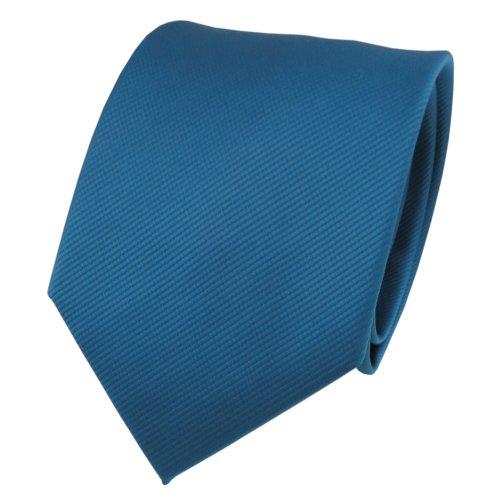 TigerTie TigerTie Designer Krawatte türkis wasserblau türkisblau Uni Rips - Binder Tie