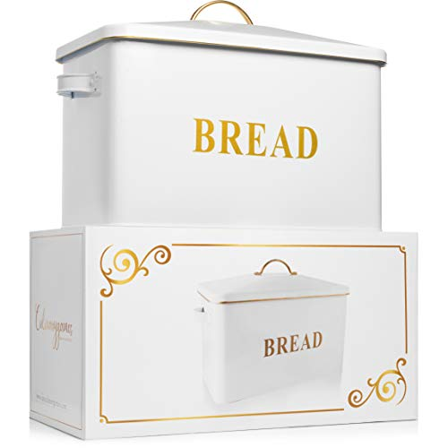 Restaurant Grade Farmhouse  Bread Box - Bread Boxes for kitchen Counter Extra Large Holds 3+ Loaves - Ideal Storage Breadbox to Keep Your Bagels, Rolls And Buns Fresh - Easy care White Bread BOX