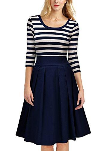 Miusol 1950er Jahre Kleid Streifen Rund Ausschnitt 3/4 Arm Retro Schwingen Pinup Rockabilly Navy Blau - 5