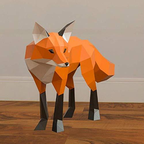 Fox DIY Escultura papel del rompecabezas de rompecabezas juguetes hechos a mano, 3D modelo de papel de Origami, bricolaje Fox Art Paper Craft, 3D Animal Pared Montada, hecho a mano creativo Adornos