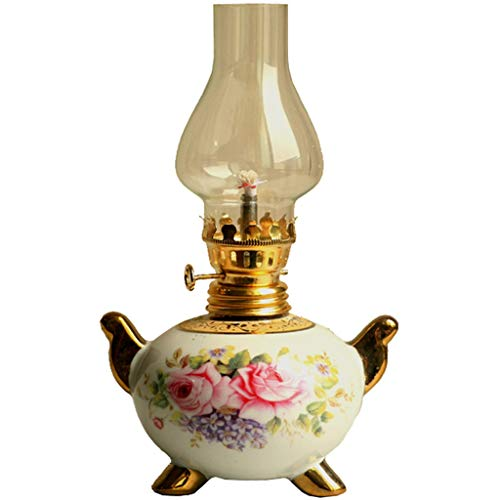 SJKDXL Petroleumlampen Vintage Öllampe Antike Form Petroleumlampe Aus Keramik Lampenschirm Aus Glas Butterlampe 200 Ml Neue Hausbesetzung