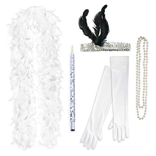 FLAPPER 5-teiliges Set Damen Charleston-Abendkleid 1920 (Weiß)