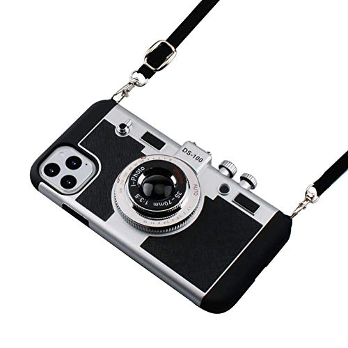 Awsaccy Emily in Paris Phone Case Compatible with iPhone 12 Pro Max 6.7 Camera Case Vintage Cover Cute 3D Cool Unique Design Silicone Case with Removable Neck Strap Lanyard for Girls Women Black