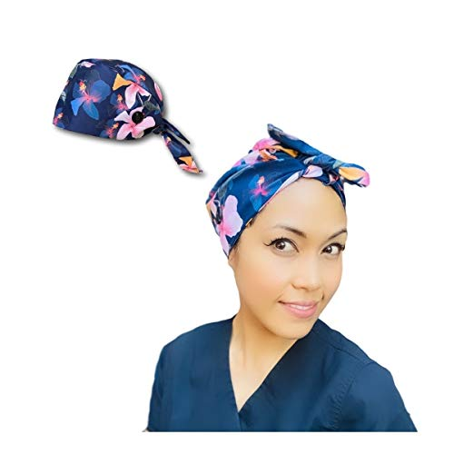 ANOKII CO Head Cover Caps- Premium Adjustable Hair Hats for Men Women with Buttons (Blue-Pink Floral, 1)