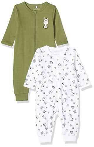 NAME IT Baby-Jungen 13173246 Schlafstrampler, Mehrfarbig (Loden Green Loden Green), (Herstellergröße: 80) (2er Pack)