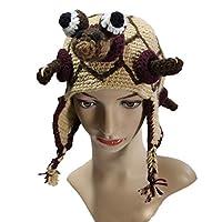 手作り編みタートルキャップ冬暖かい動物イヤーマフヘルメットヘッドギア男性女性ハロウィーンおかしい三つ編みフリンジキャップ