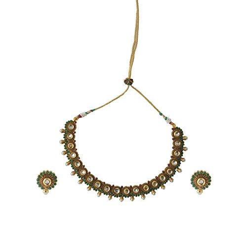 INAYA Latón Cristal y oro amarillo plateado conjuntos de collar Con Multicolor Chaton Piedra, 1 par