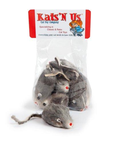 Real Rabbit Fur Mouse Cat Toy - 5 Pak