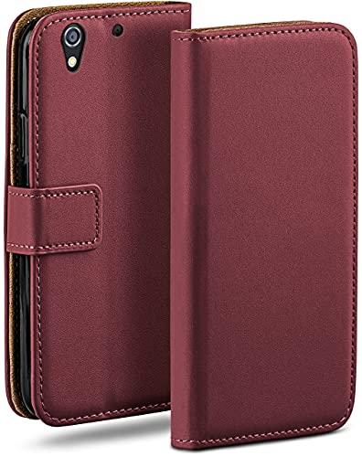 moex Klapphülle kompatibel mit HTC Desire 626G Hülle klappbar, Handyhülle mit Kartenfach, 360 Grad Flip Hülle, Vegan Leder Handytasche, Weinrot