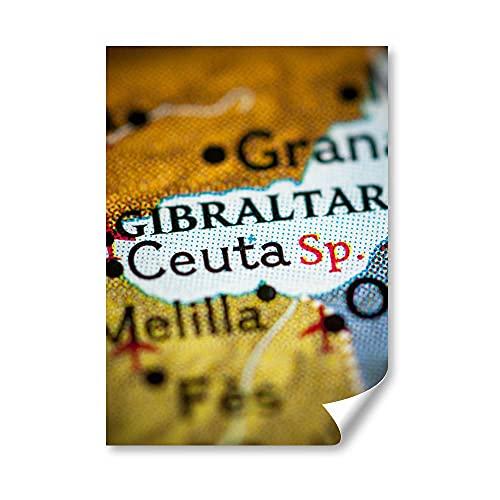 DV DESIGN 1 póster A4, diseño de mapa de España de Ceuta Gibraltar Granada, foto gráfica #21323