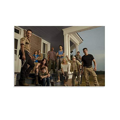 Póster de The Walking Dead con 3 películas enmarcadas al óleo impreso en lienzo para decoración del hogar, cuadros colgantes para sala de estar, dormitorio listo para colgar 60 x 90 cm
